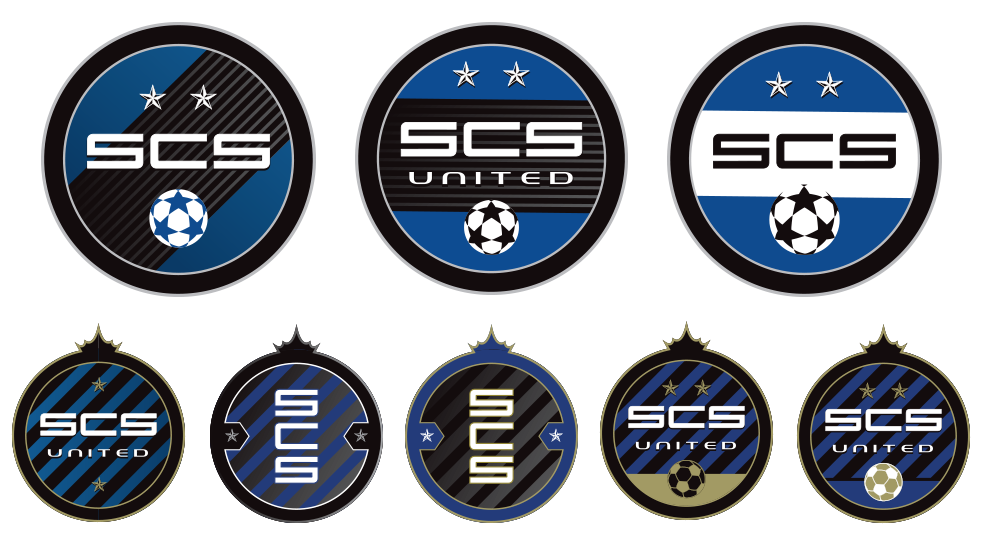 scs united soccer crest deisgns